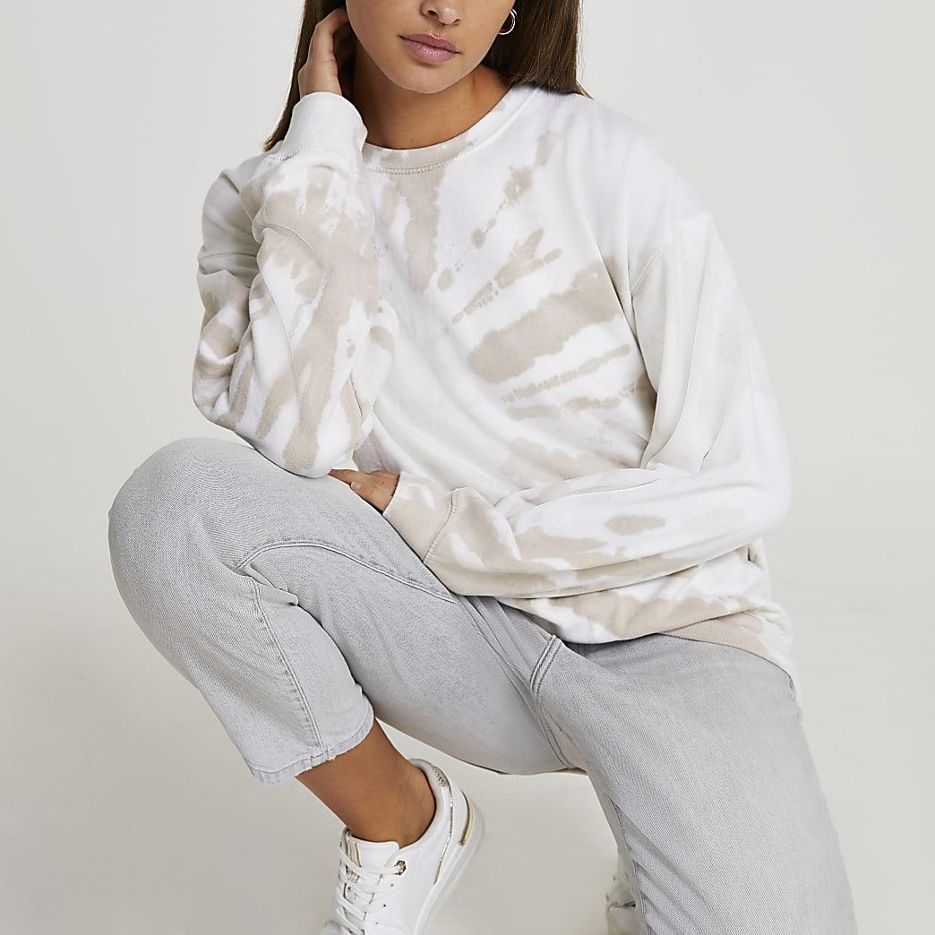 Beige tie dye long sleeve sweatshirt