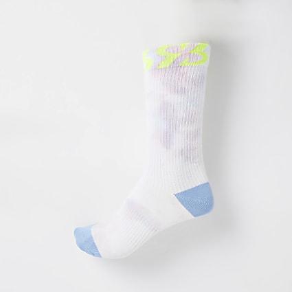 Beige tie dye pastel tube socks