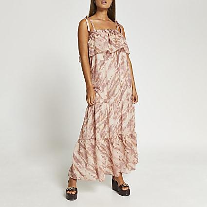 Beige tie dye print bardot maxi dress