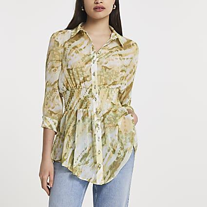 Beige tie dye print shirred waist shirt