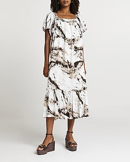 Beige tie dye shirred midi dress
