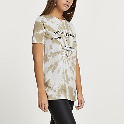 Beige tie dye t-shirt