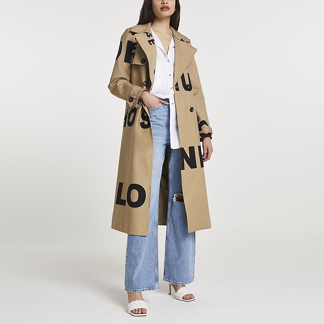 Beige tie waist graphic trench coat