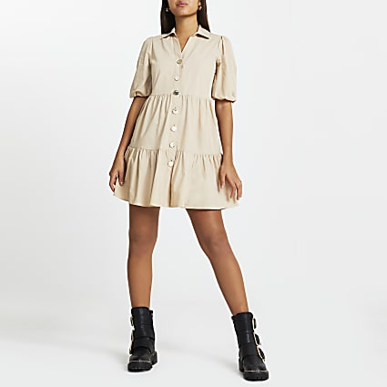 Beige tier shirt mini dress