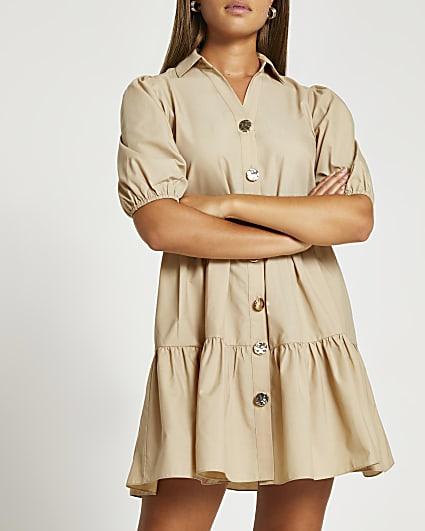 Beige tiered puff sleeve shirt dress