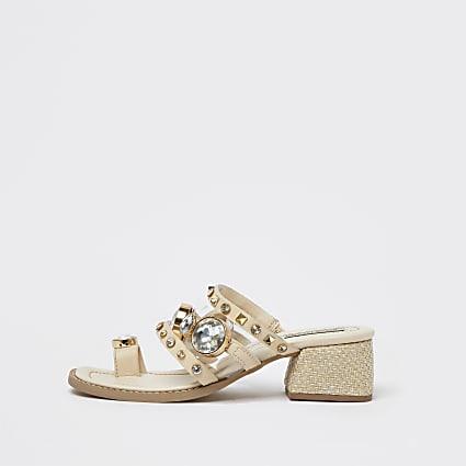 Beige toe loop block heel sandals