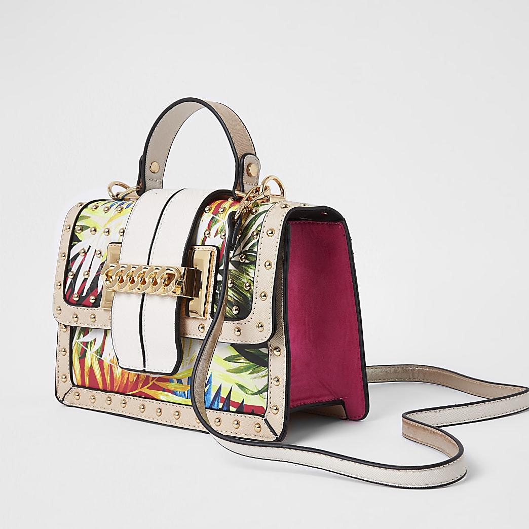 Beige tropical print satchel