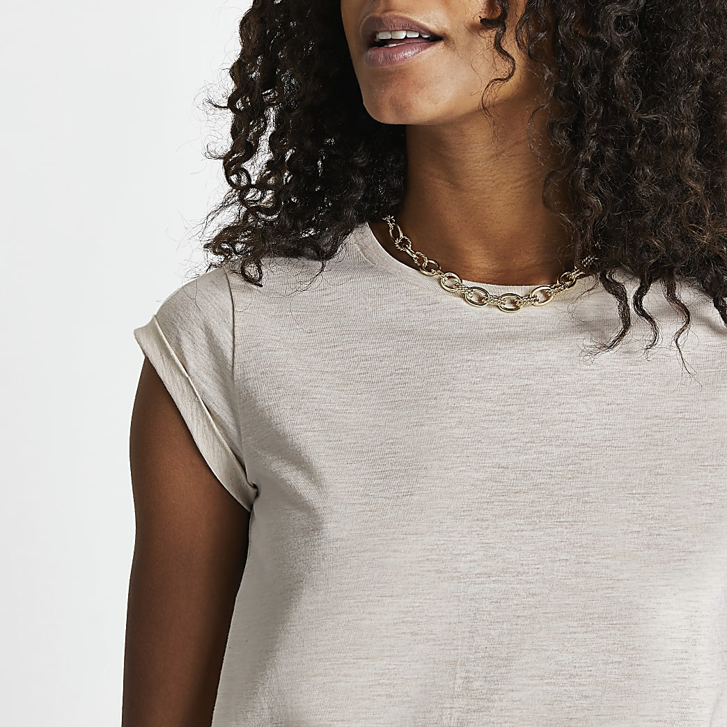 Beige turnback sleeve t-shirt
