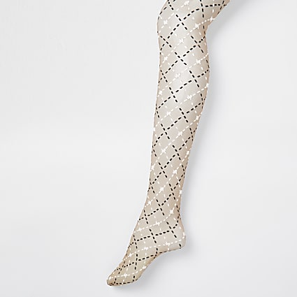 Beige two tone RIR monogram sheer tights