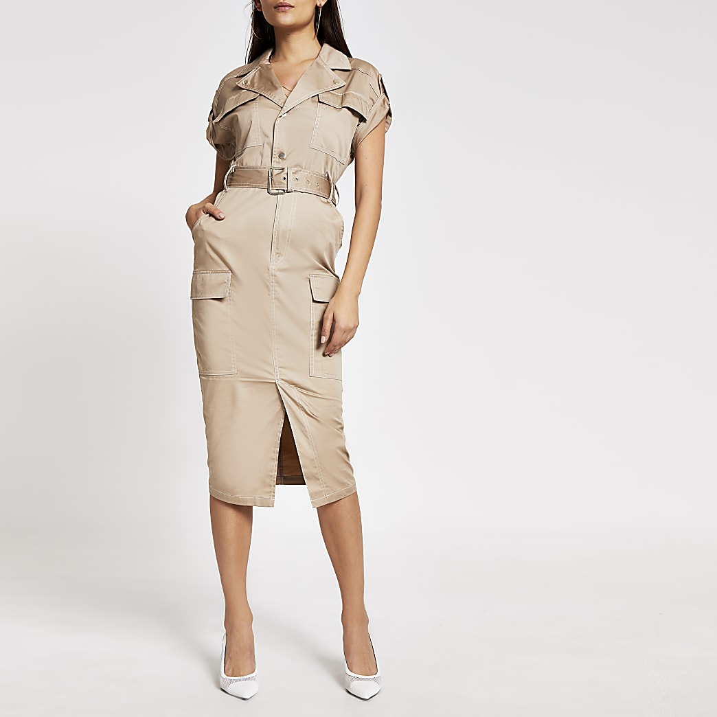 Beige utility belted midi dress