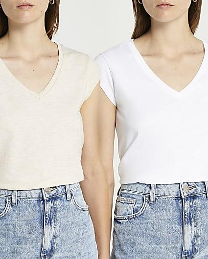 Beige v-neck t-shirt multipack
