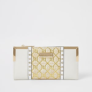 Beige weave embellished zip purse