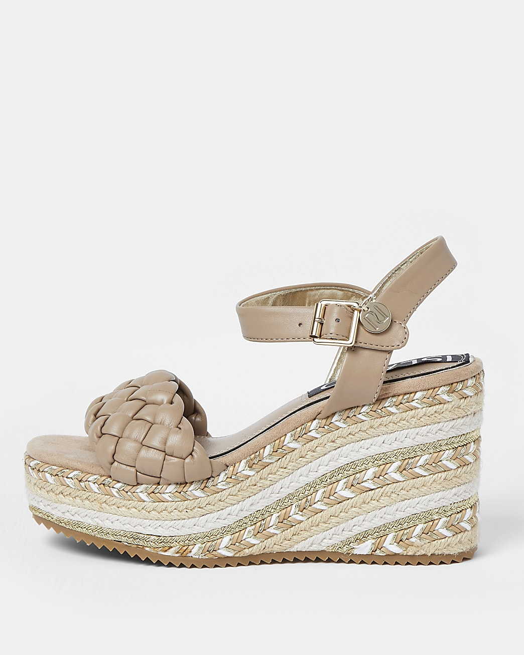 Beige weave faux leather wedge shoes