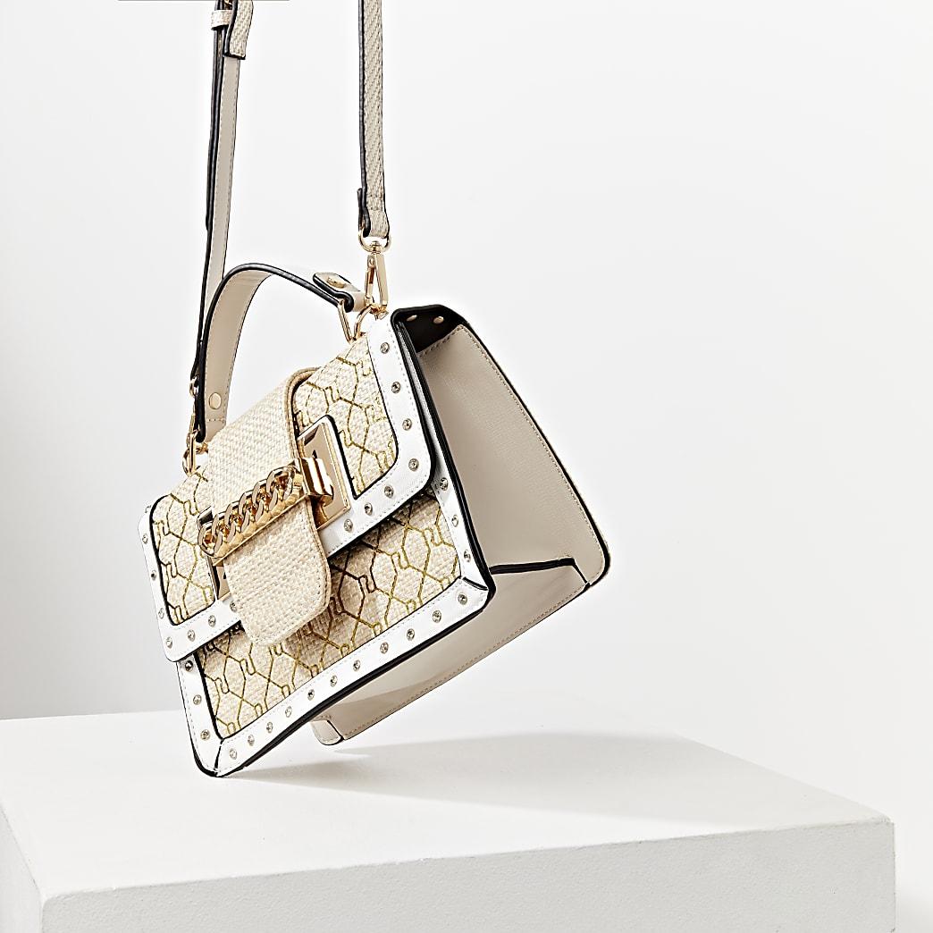 Beige weave gold RI satchel handbag