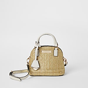 Beige weave mini cross body bag