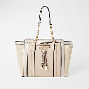 Beige weave winged tote bag