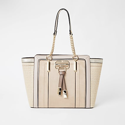 Beige weave winged tote handbag