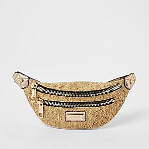 Beige weave zip front bumbag