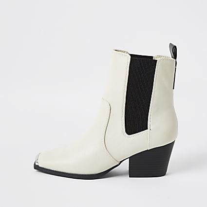 Beige western block heel boots