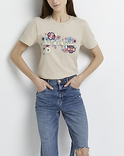 Beige 'What A Feeling' print t-shirt