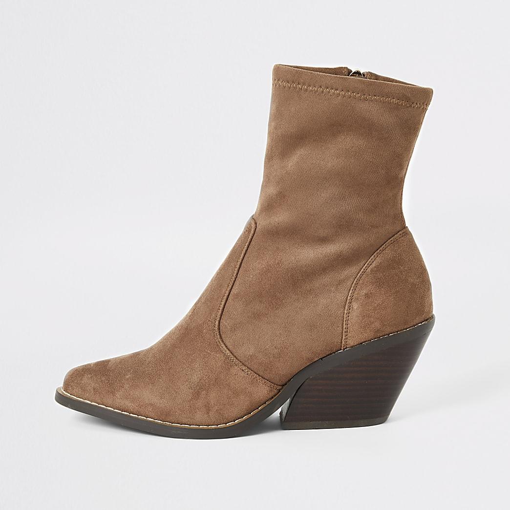 Beige wide fit faux suede western sock boots