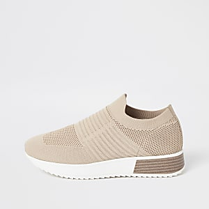 Beige wide fit gebreide sneakers