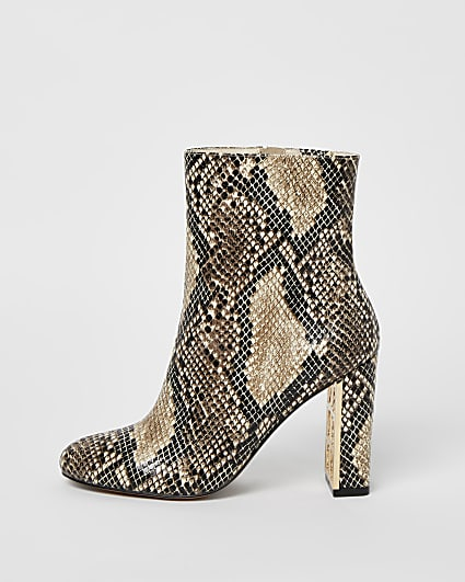 Beige wide fit snake print heeled ankle boots