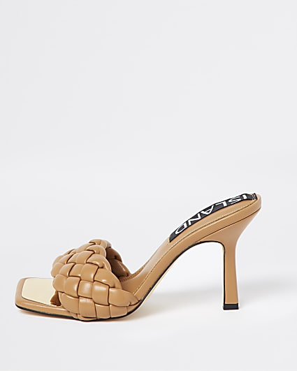 Beige wide fit woven heeled mules