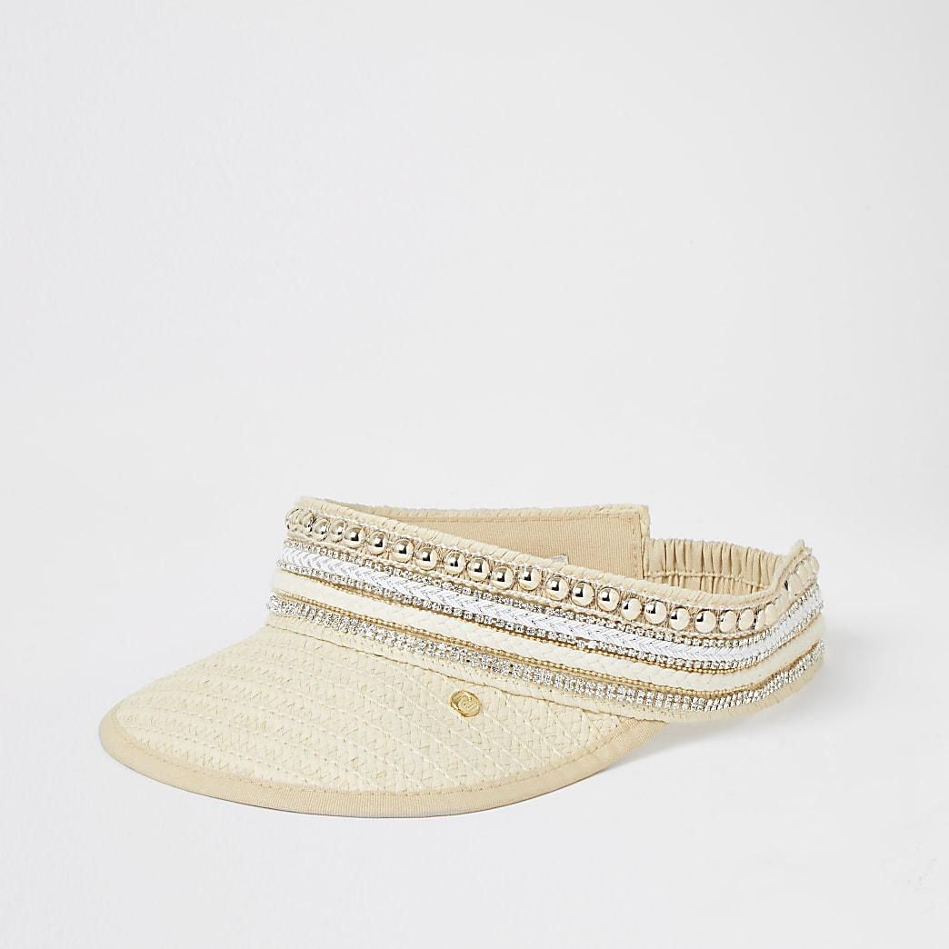 Beige woven diamante embellished visor hat