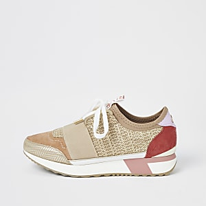 Beige woven elasticated runner trainers