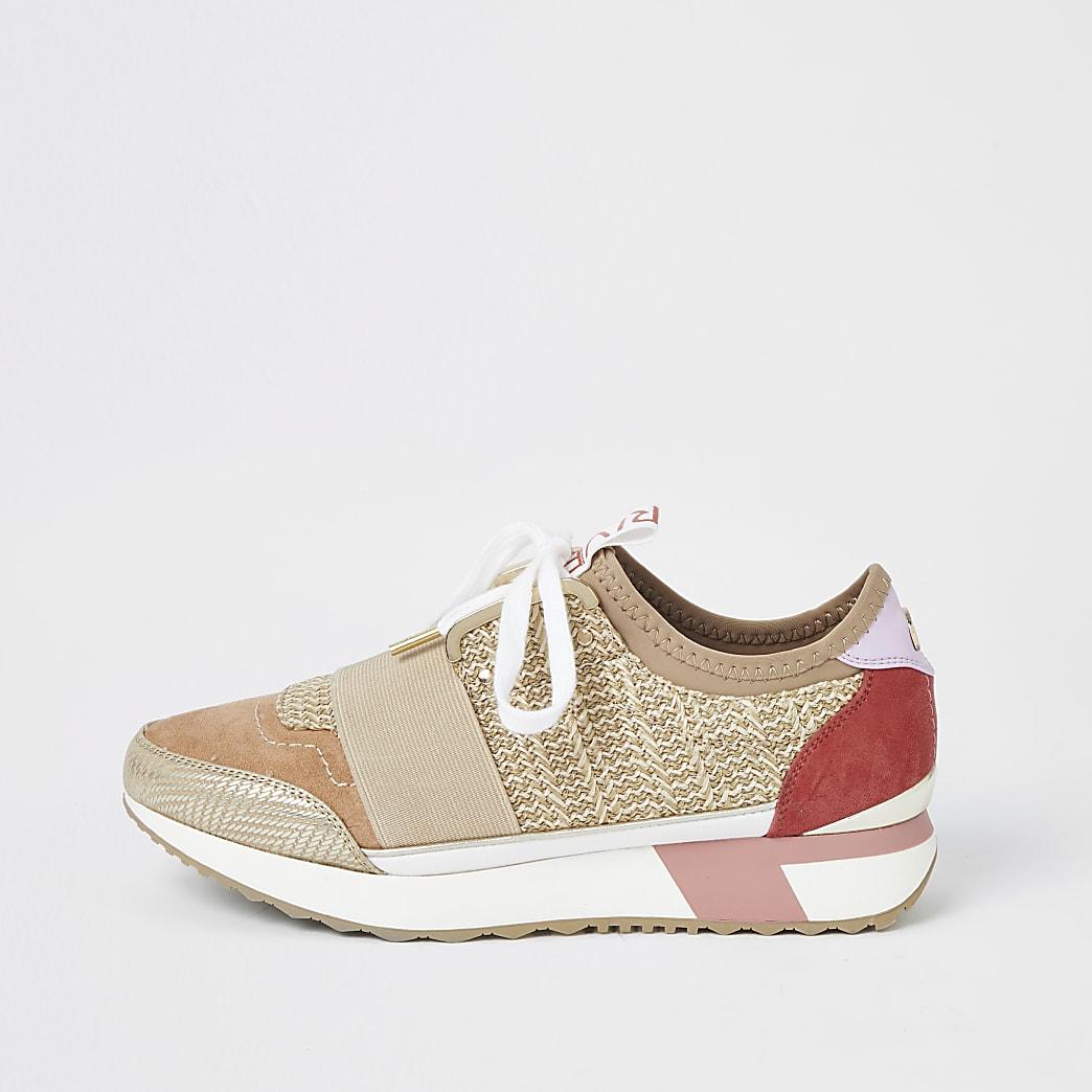 Beige geweven elastische sneakers