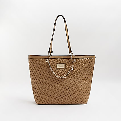 Beige woven gold chain shopper bag