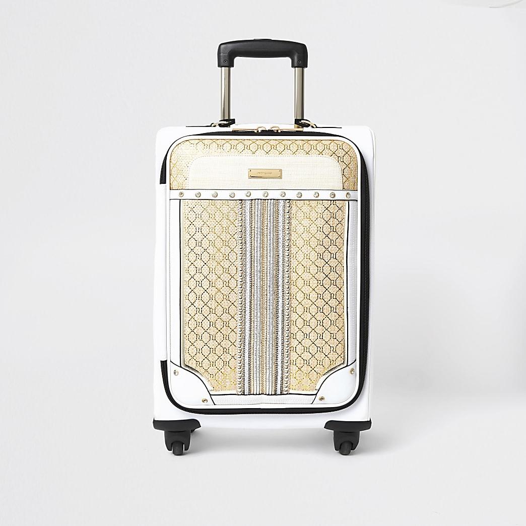 Beige woven mono print suitcase