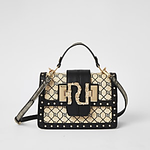Beige woven RI cross body satchel bag