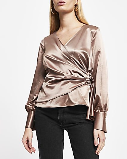 Beige wrap blouse
