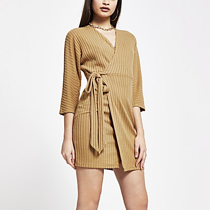 Beige wrap tie waist long sleeve mini dress