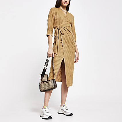 Beige wrap tie waist ribbed midi dress