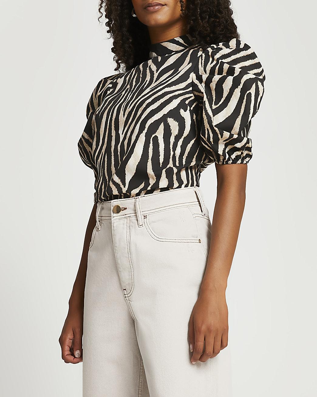 Beige zebra print puff sleeve top