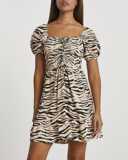 Beige zebra ruched front mini dress