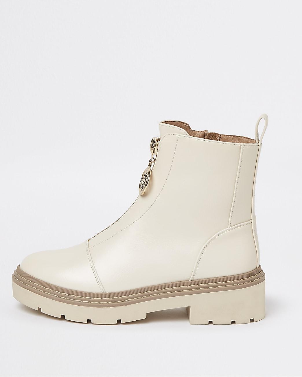 Beige zip front chelsea ankle boots