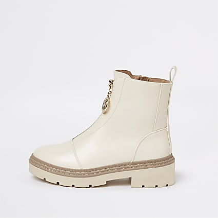 Beige zip front chunky boots
