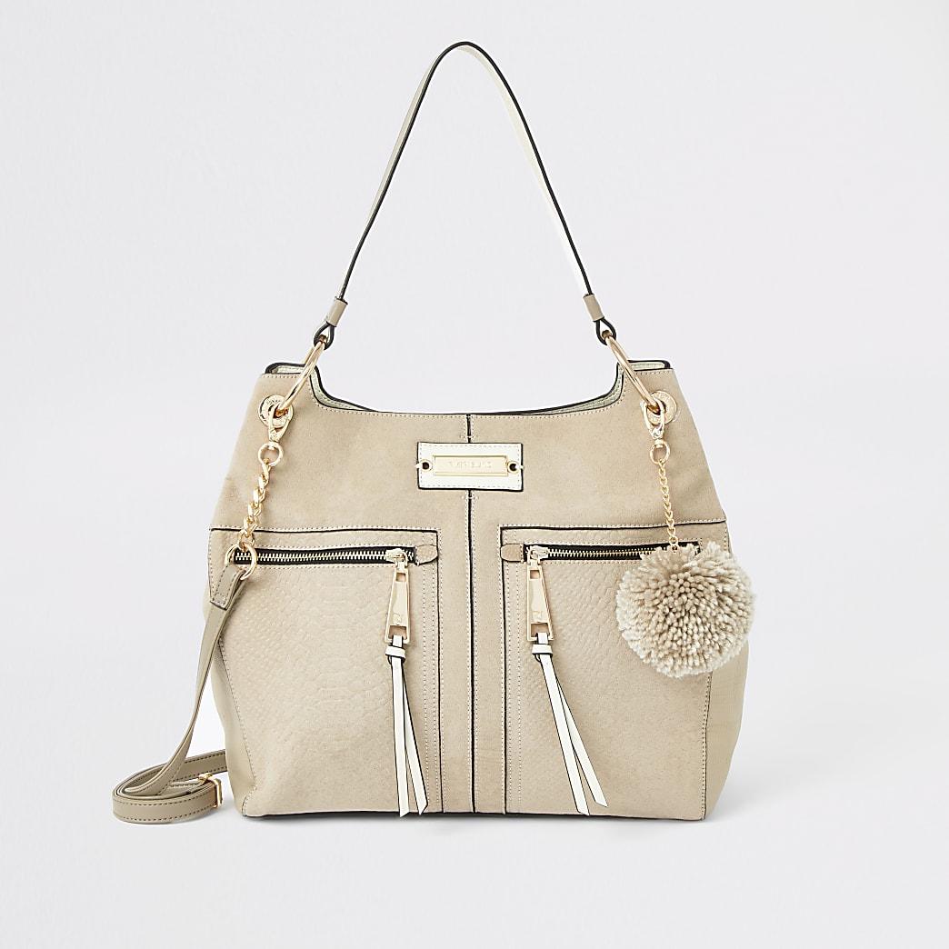 Beige zip front slouch Handbag