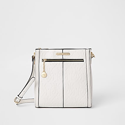 Beige zip front structured messenger bag