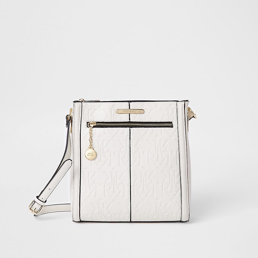 Beige zip front structured messenger handbag