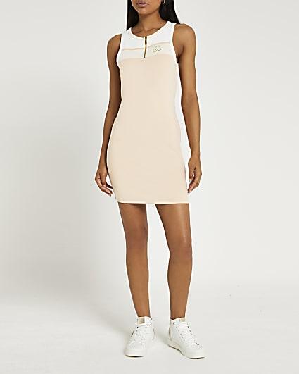 Beige zip neck mini dress