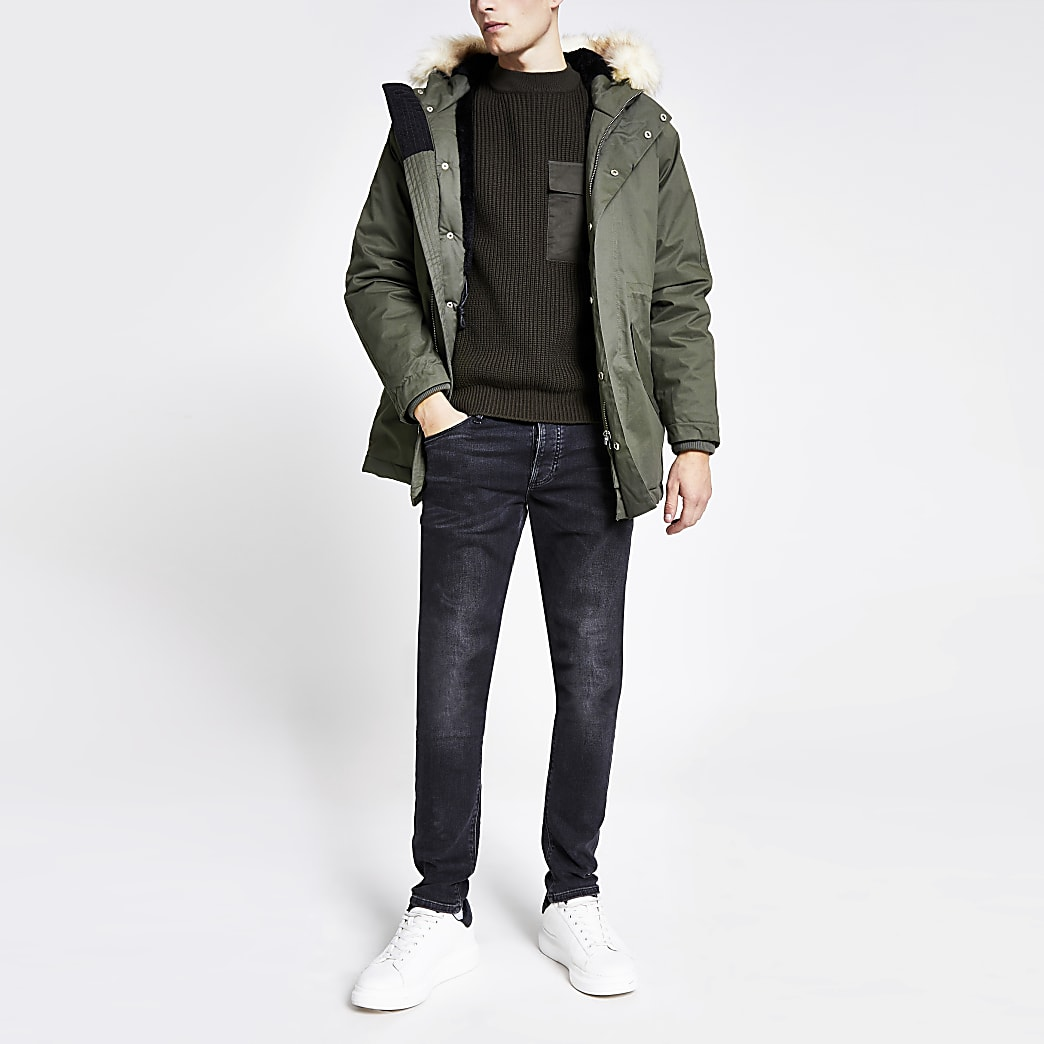 Bellfield khaki faux fur hooded parka jacket