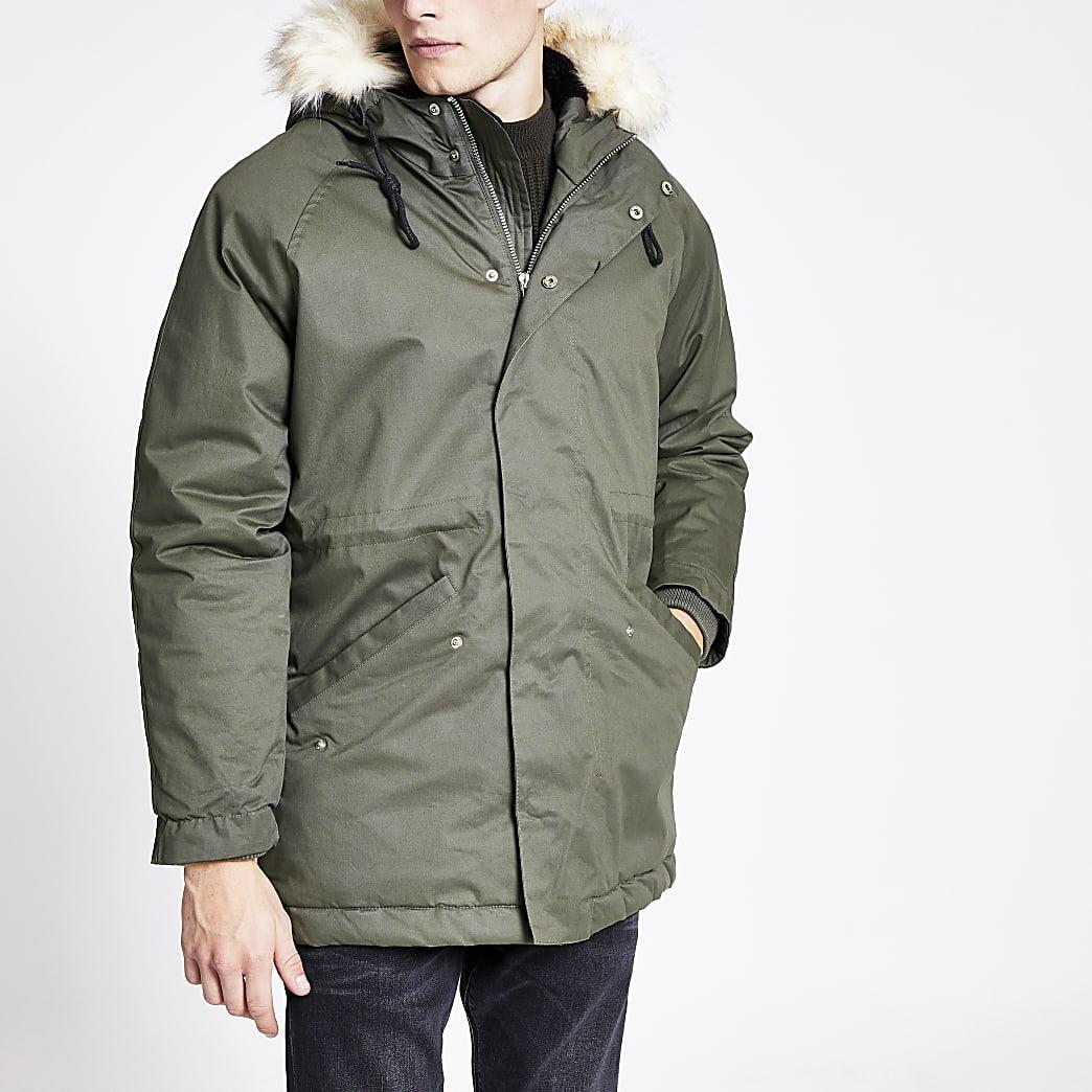 Mens Bellfield khaki faux fur hooded parka jacket   The