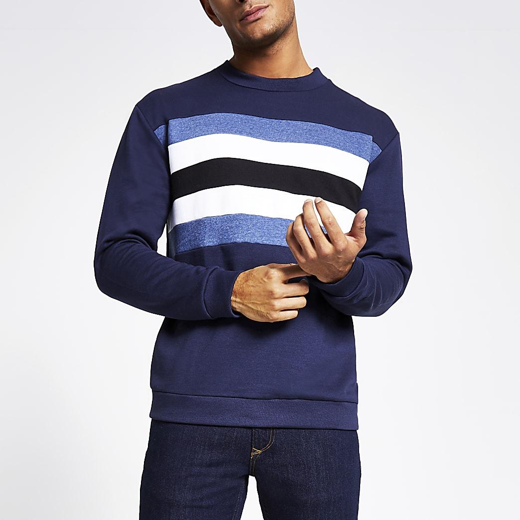 Bellfield - Marineblauw sweatshirt met kleurvlak