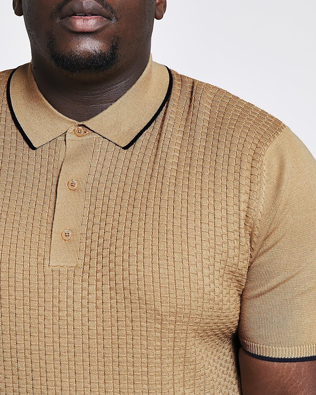 Big & tall beige knit short sleeve polo shirt