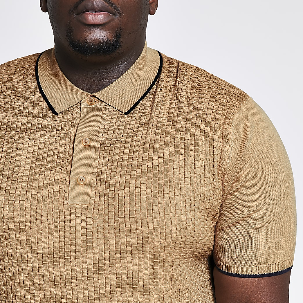 Big & tall beige textured slim fit polo shirt